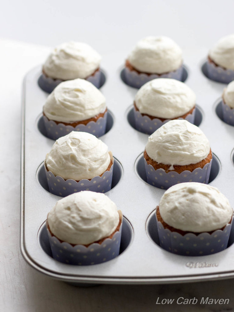 Brightened with the slight tang of buttermilk, these classic vanilla buttermilk cupcakes are topped with a luxurious cream cheese frosting. | Low Carb, keto, thm