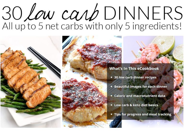 Tasteaholics low carb dinner cookbook cover with pictures of three easy low carb dinners.