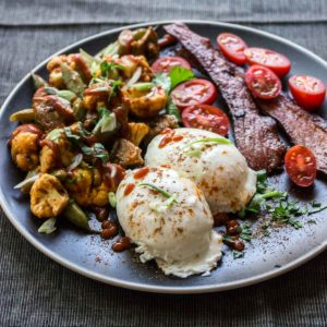 Pan Poached Eggs & Roasted Vegetable Masala (Paleo Breakfast)