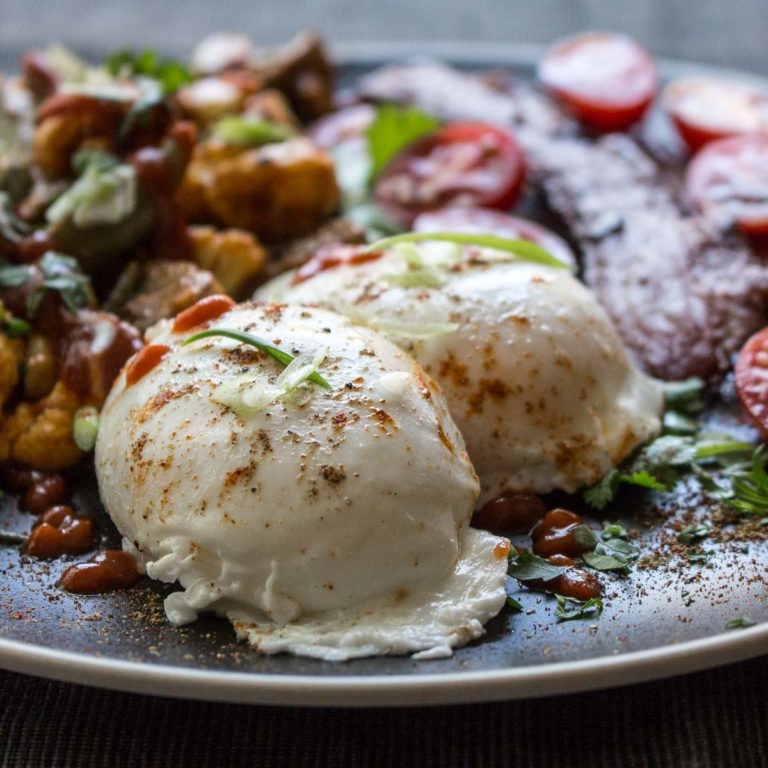 These easy pan poached eggs are fantastic with a toasted vegetable masala and bacon! | low carb, Paleo, Whole 30, Keto, THM-s