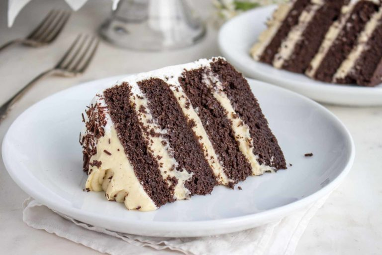 A slice of chocolate layer cake with vanilla pudding filling on a plate.