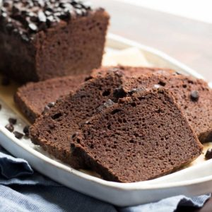 A low carb chocolate quick bread made of coconut flour and baked in a loaf pan. lchf, keto, thm