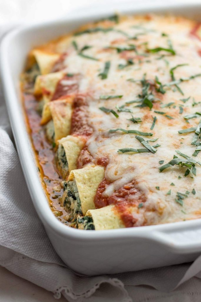 Low Carb Spinach Manicotti Stuffed With Spinach And Ricotta Cheese
