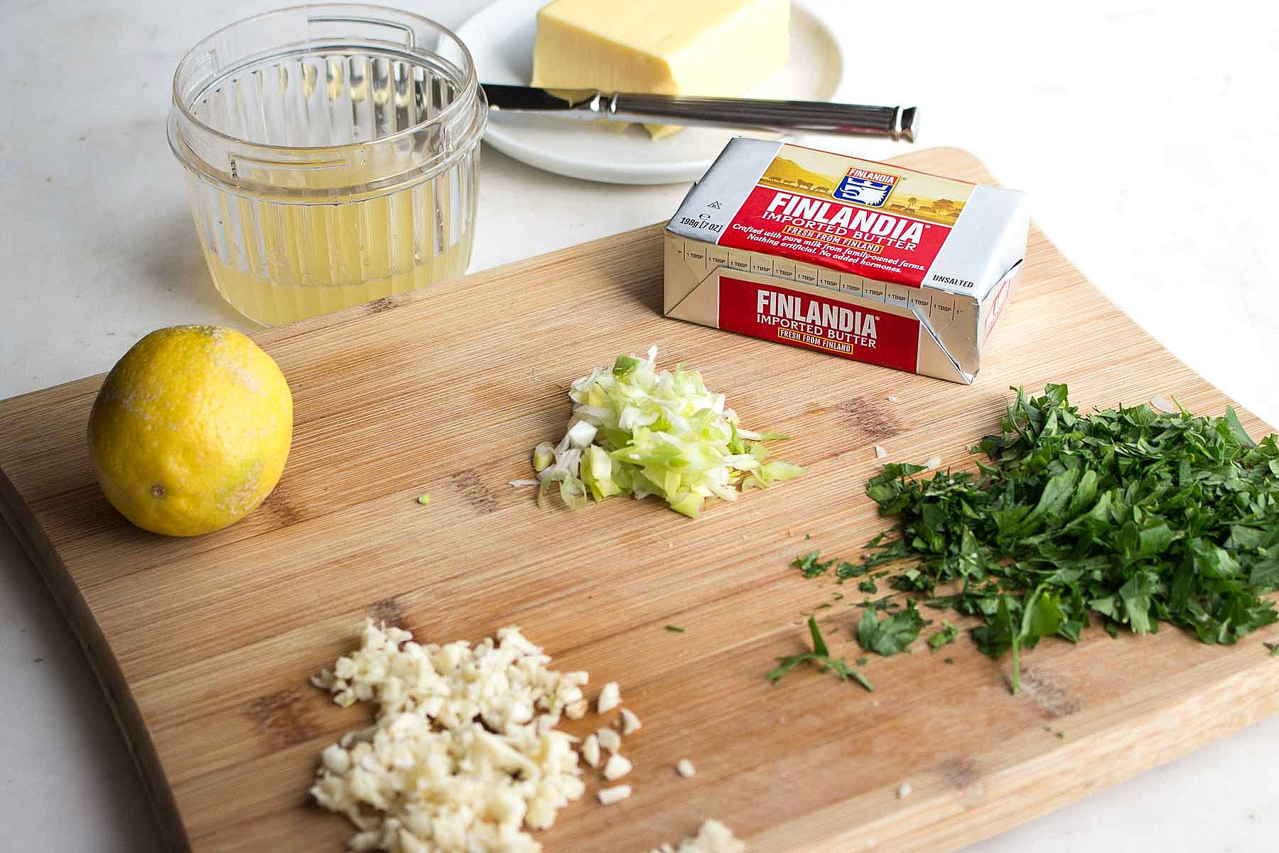 Ingredients for Shrimp Scampi with Finlandia Imported Butter.
