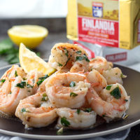 Shrimp scampi with Finlandia butter, garlic, lemon and parsley. Low carb, gluten-free, keto