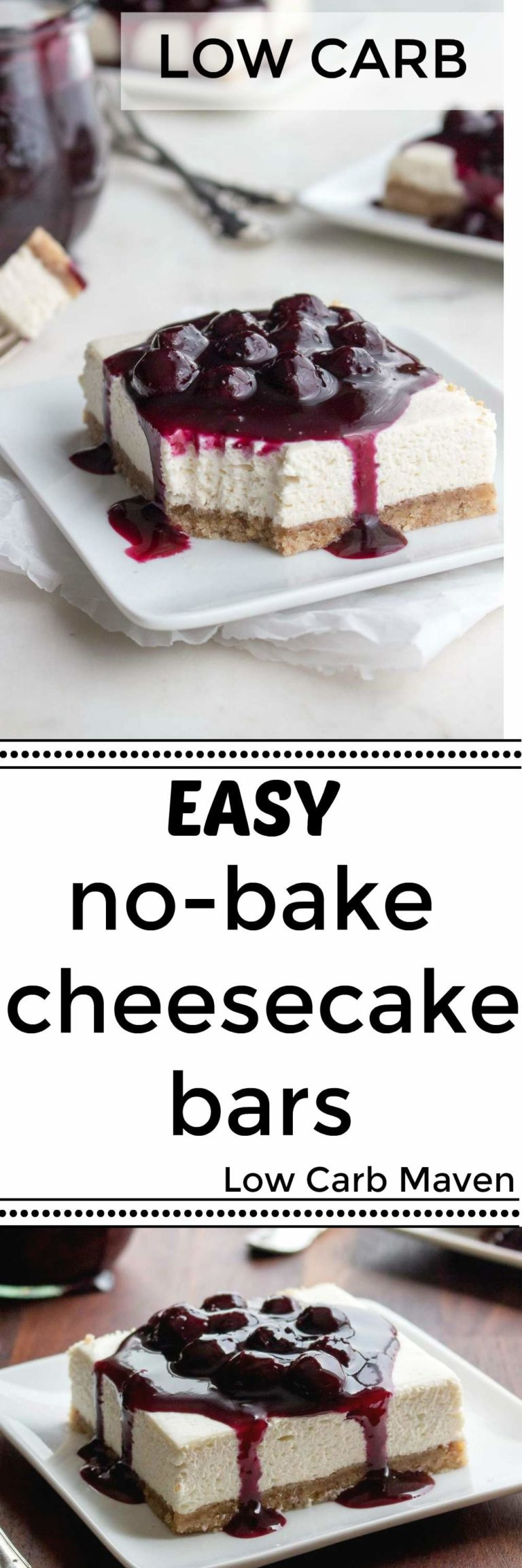 These Easy Low Carb No Bake Cheesecake Bars Are Sugar Free