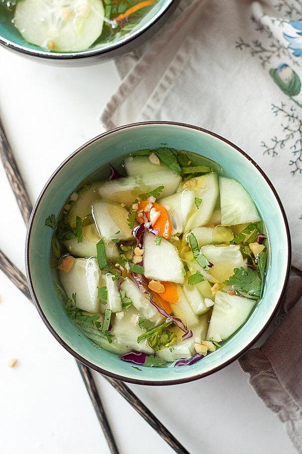 This refreshing Thai Cucumber Salad is a fast & easy side! low carb, sugar-free, Paleo & Keto.