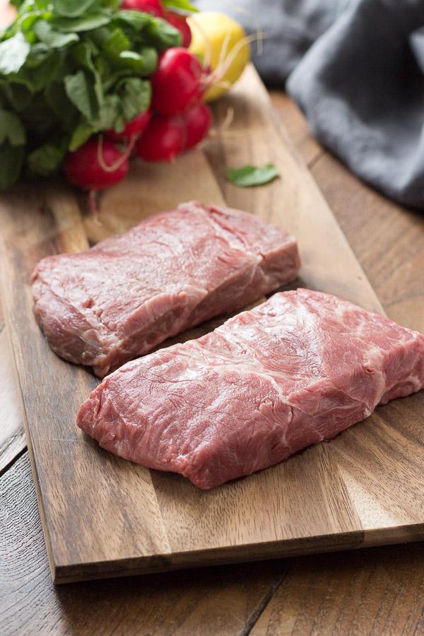 Grass-fed, grass-finished flat iron steak.