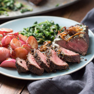Pan Seared Flat Iron Steak Recipe with Peppercorns and Blue Cheese Butter