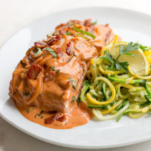 Salmon with Bacon Tomato Vodka Cream Sauce
