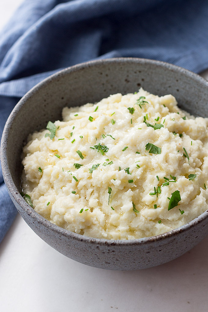 Mashed Cauliflower with Celery Root has a creamy texture and delicate flavor.