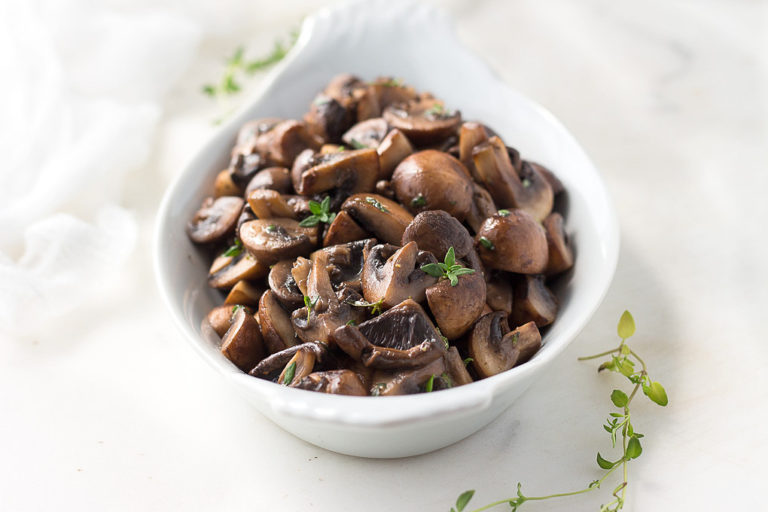 Sauteed Mushrooms in Butter and Thyme is an easy low carb side dish.