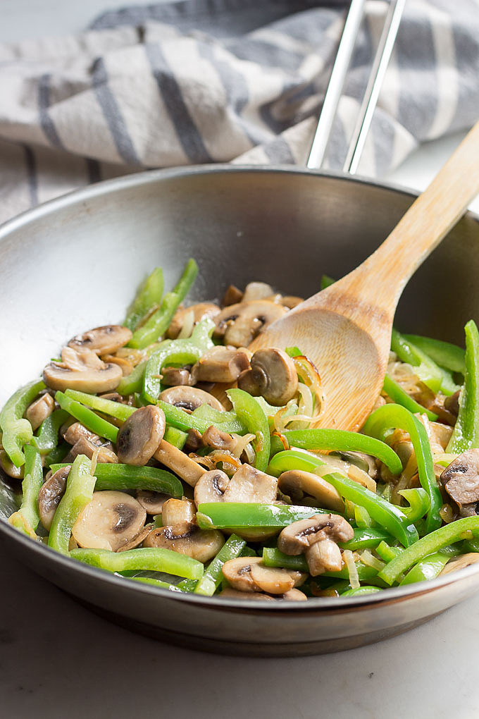 Peppers, onions and mushrooms for Philly cheese steaks
