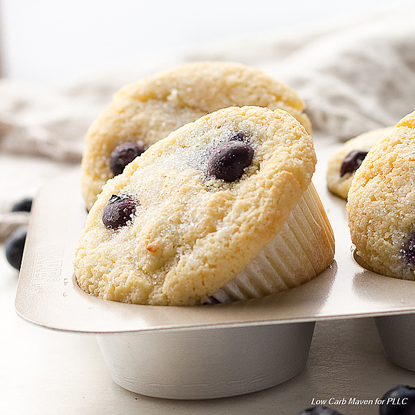 Coconut flour keto blueberry muffins are great low carb muffins.