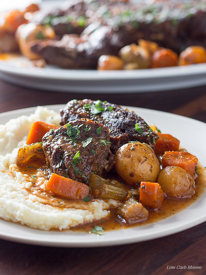 A low carb pot roast perfect for Atkins, Keto and LCHF diets. This gluten free and grain free recipe is easy and flavorful!