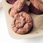 Try these low carb chocolate muffins made with leftover cranberry sauce. A great keto breakfast or dessert!