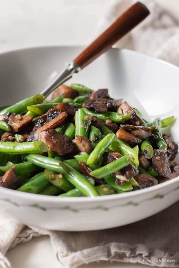 This healthy Green Beans and Mushroom Saute is a perfect low carb & keto side.