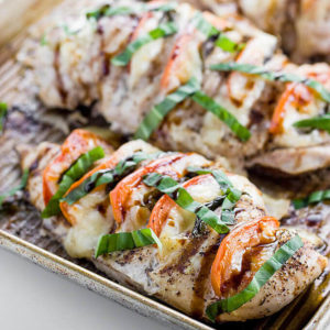 Low Carb Caprese Hasselback Chicken