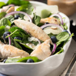Chicken Spinach Blueberry Salad with Parmesan. Great low carb salads. keto.