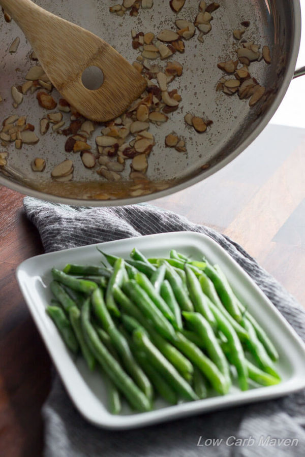 Green Beans Almondine an easy low carb keto side.