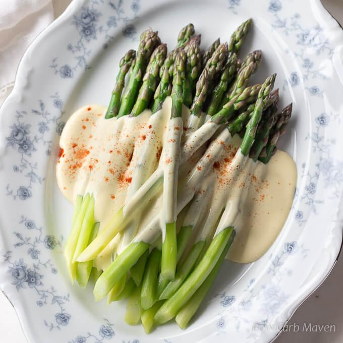 Asparagus With Hollandaise Sauce Brown Butter Low Carb Maven