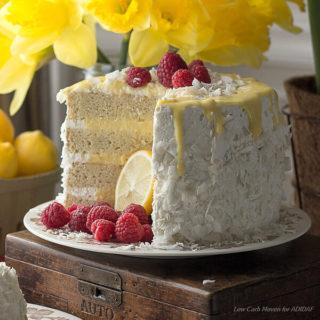Low Carb Coconut Lemon Curd Cake