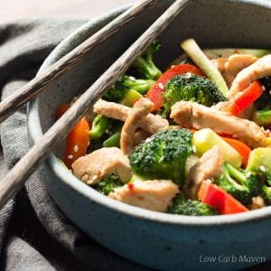 An easy pork stir fry recipe that is low carb, keto and healthy.