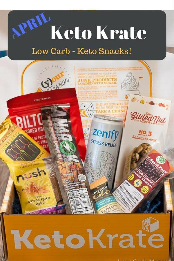 Keto Krate April products in a Keto Krate box (left to right) Nush Carrot Spice Cake, Coco Polo Chocolate, Biltong Jerky, Super Powered beef Sticks, Zenify drink, Raw Rev Glo protein bar, Gilded Nut Pistachios, LC Foods Dark Chocolate covered almonds.
