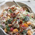 Amish Broccoli Cauliflower Salad is an easy low carb side dish.