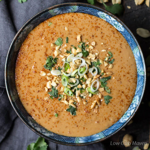 Easy Thai peanut sauce for chicken satay, beef satay, or noodles. Make this easy peanut sauce mild or spicy. My sugar-free keto recipe offers sweetener subs.