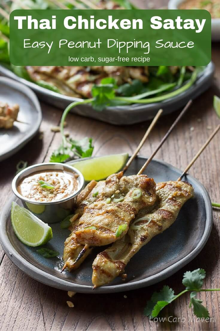 Thai Chicken Satay with Peanut Sauce: grilled marinated chicken on skewers is an easy low carb and sugar free recipe.