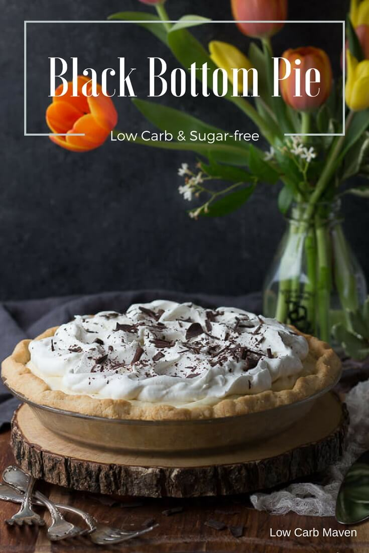 Black bottom pie - a delicious no-bake low carb pie recipe with a chocolate custard and airy chiffon filling.