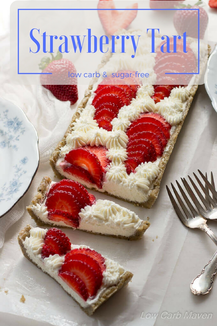 A beautiful, easy no-bake strawberry tart. This low carb strawberry dessert is made with cream cheese and goat cheese with a low carb hemp walnut press-in crust. Serve this easy keto dessert to friends and family for any occasion. Add blueberries for a 4th of July dessert.
