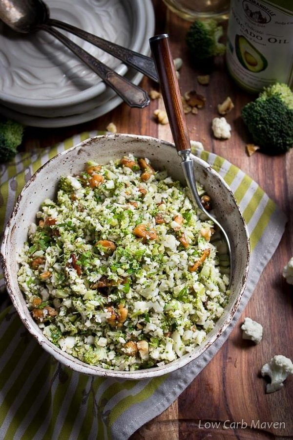 Cauliflower Broccoli Rice Salad - a healthy vegetarian low carb side with broccoli, cauliflower, walnuts and an oil and vinegar dressing.