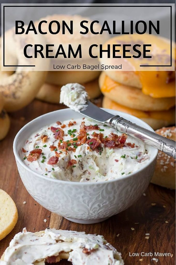 A great bacon scallion cream cheese spread for low carb bagels, crackers, or bread.  It also makes a great appetizer dip for vegetables.