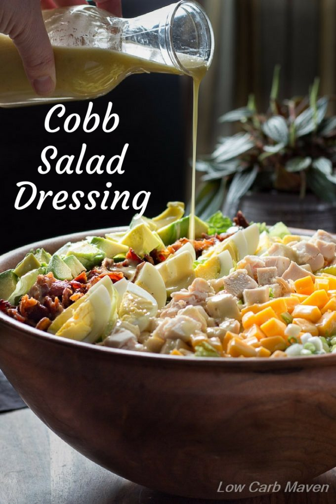 Try this low carb Cobb Salad Dressing recipe on your favorite healthy salads.