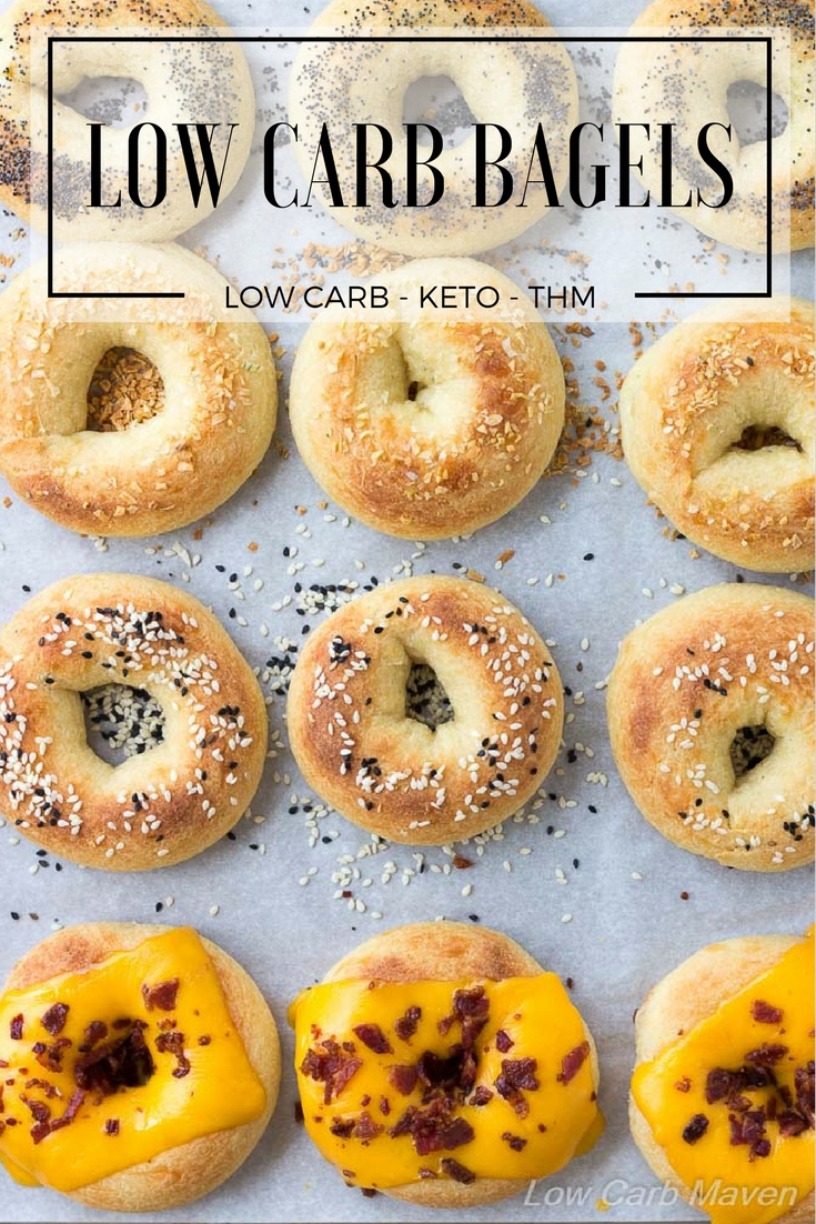An easy low carb keto bagel recipe perfect for grab and go low carb breakfasts and keto lunch ideas. #ketobagels #lowcarbbagels #fathead