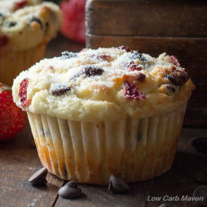 Low Carb Strawberry Chocolate Chip Muffins (sugar-free, keto)