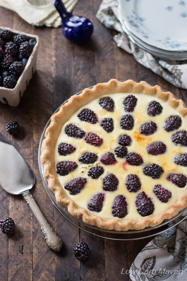 Make this easy no-bake custard pie with a low carb ready made pie crust and fresh blackberries. It's just like an old fashioned buttermilk pie but easier.