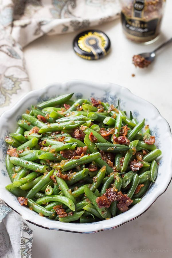 Sweet And Sour German Green Beans With Bacon And Onions Low Carb Maven