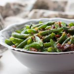 Sweet and Sour German Green Beans with Bacon and Onions is a tasty green bean recipe and easy low carb side.