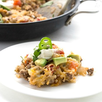 Mexican Cauliflower Rice Skillet | Low Carb Ground Beef Recipes
