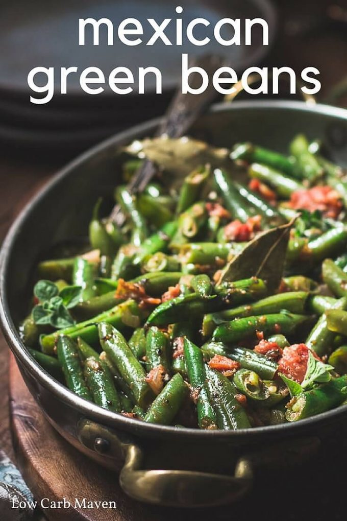 Mexican green beans with tomatoes is the perfect easy side recipe for week night dinners. Low carb, Keto, Paleo,