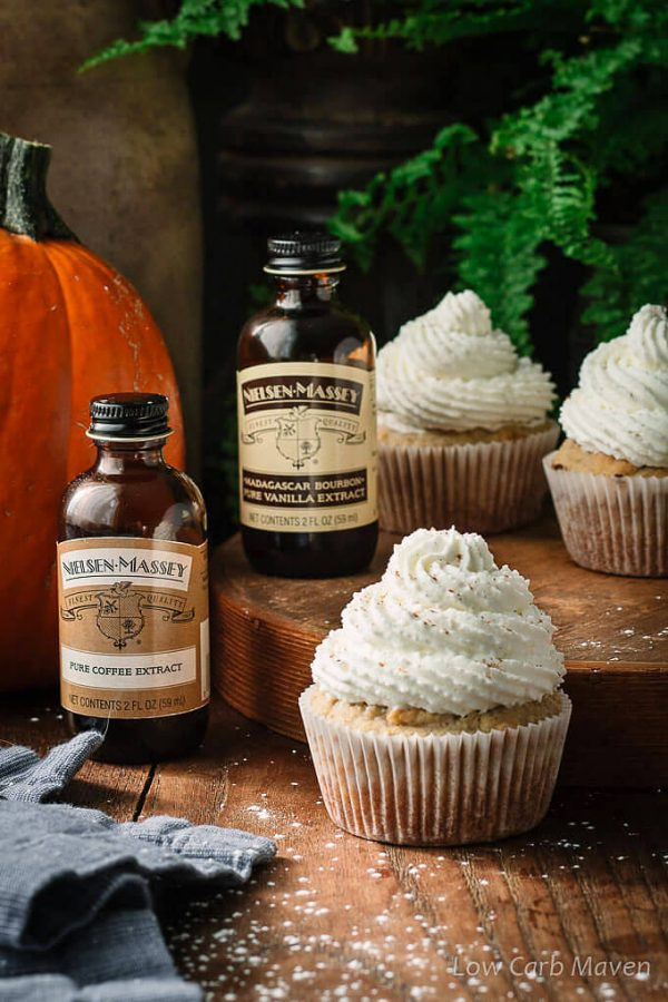 Sugar Free Pumpkin Spice Latte Cupcakes made with Nielsen-Massey Vanilla. #AD.