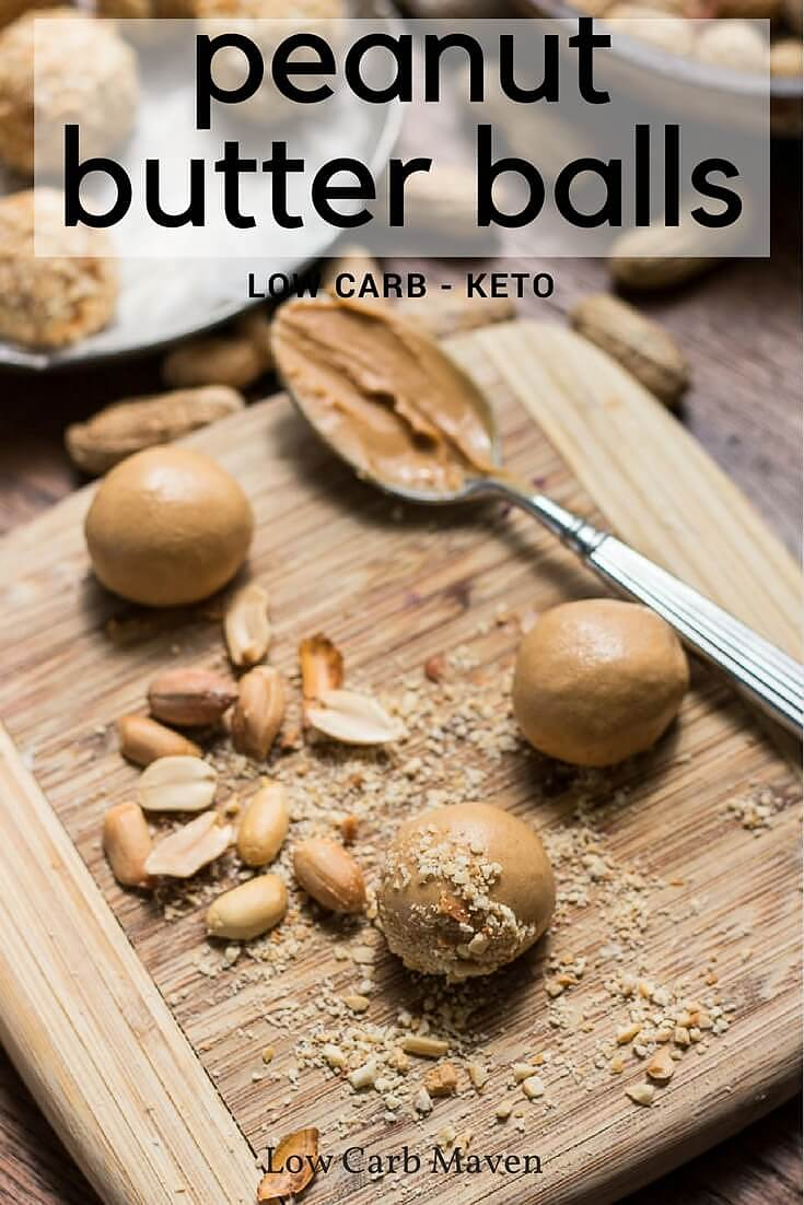 Low carb peanut butter balls made from protein powder and stevia make an easy low carb keto snack.