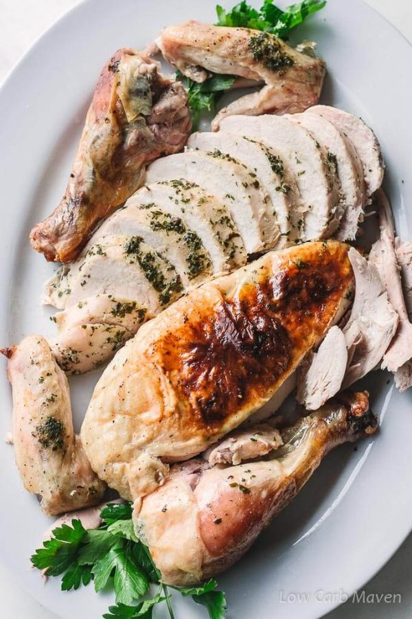 Simple oven roasted chicken with herbed butter and crispy skin.