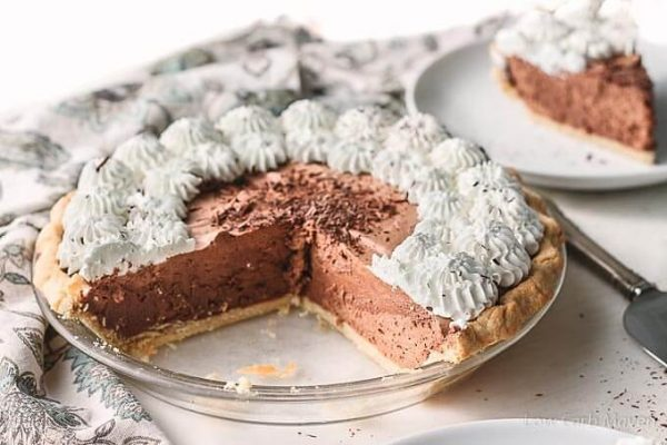 Sugar Free Chocolate Pie (French Silk Pie) with whipped cream and chocolate shavings