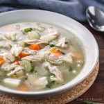 Low carb chicken soup with vegetables in a bowl.
