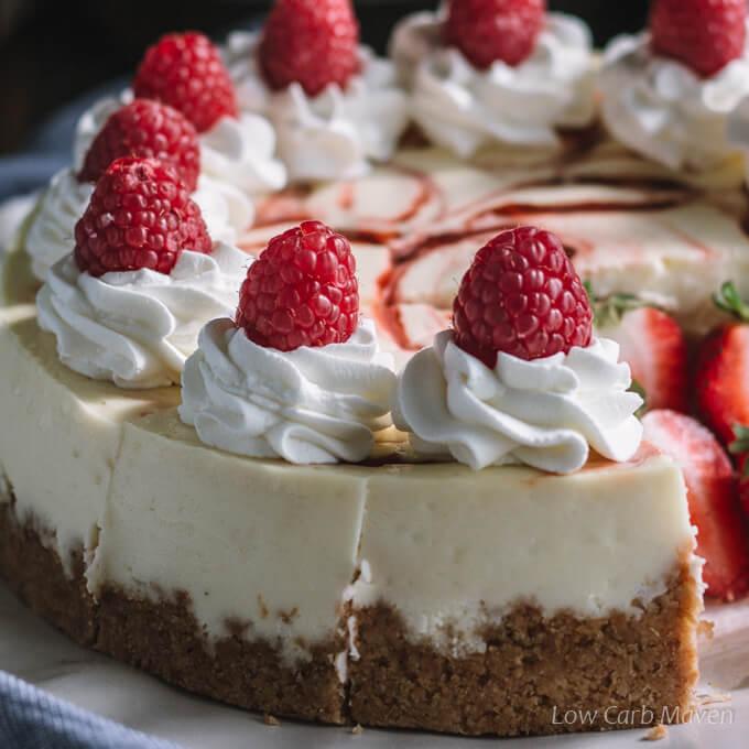 Keto cheesecake with raspberry swirl.