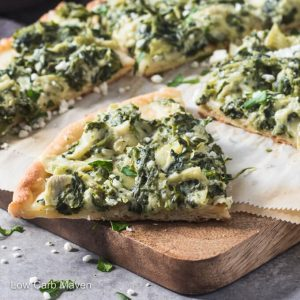 Spinach Artichoke Pizza (keto, low carb)